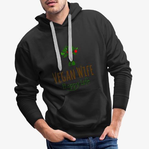 VEGAN WIFE Happy Life - Sweat-shirt à capuche Premium pour hommes