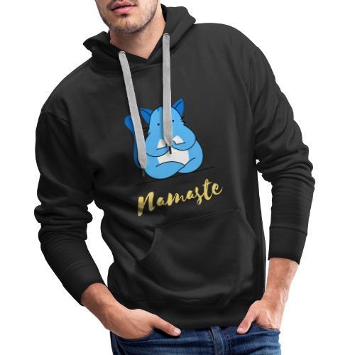 t shirt design creator featuring a cat meditating - Felpa con cappuccio premium da uomo