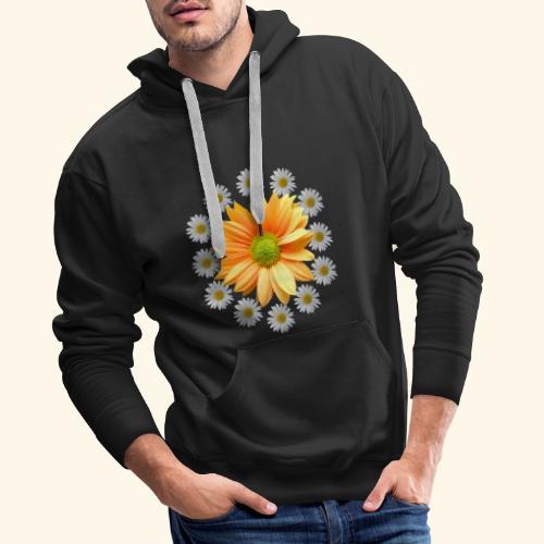 Margeriten mit einer orangen Chrysantheme, Blumen - Männer Premium Hoodie
