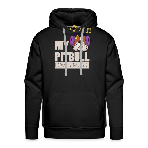 Pitbull loves music - Men's Premium Hoodie