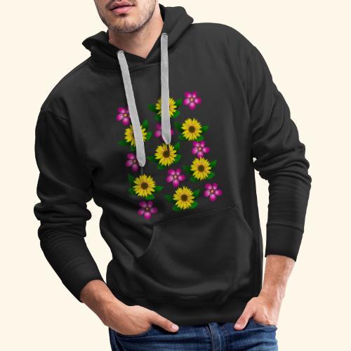 Sonnenblumen, pinke Blumen, floral, Blüten, pink - Männer Premium Hoodie