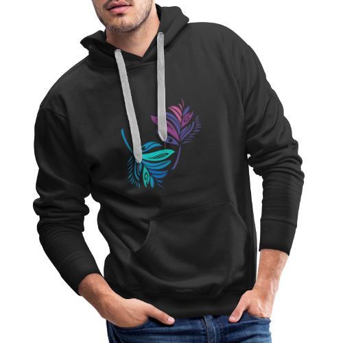 foglie geometriche - Felpa con cappuccio premium da uomo