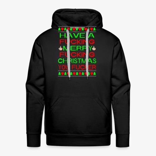 Merry Fucking Christmas Ugly Christmas Sweater - Männer Premium Hoodie