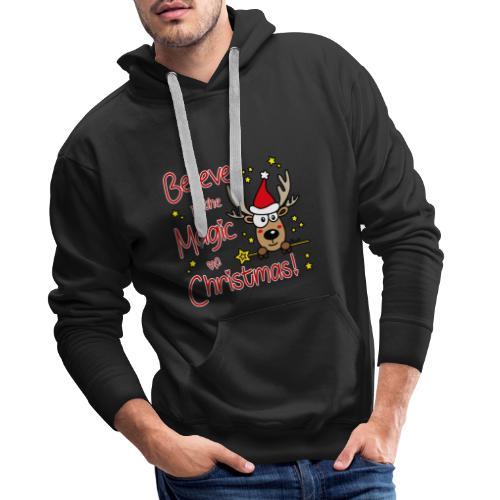 Renne, Magic of Christmas, Happy Christmas, Noël - Sweat-shirt à capuche Premium pour hommes