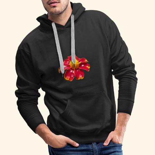 rote Ringelblume mit Regentropfen, Blume, Blüte - Männer Premium Hoodie