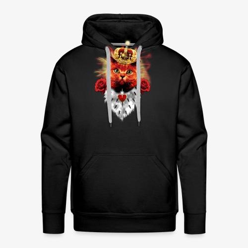Red Roses Cat King - rote Katze mit Krone - Männer Premium Hoodie