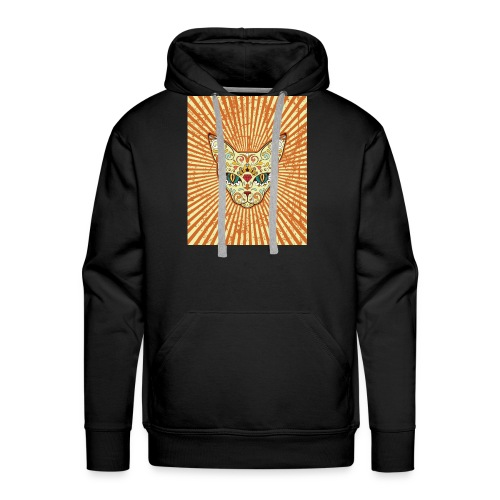 cat calavera grunge effect t shirt design - Felpa con cappuccio premium da uomo