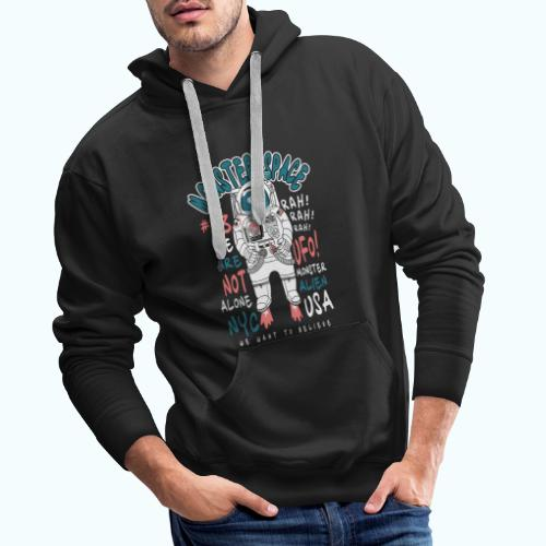 Little Monster In Space 80s Retro - Men's Premium Hoodie
