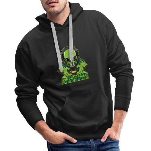 AlienGamer Testo - Felpa con cappuccio premium da uomo