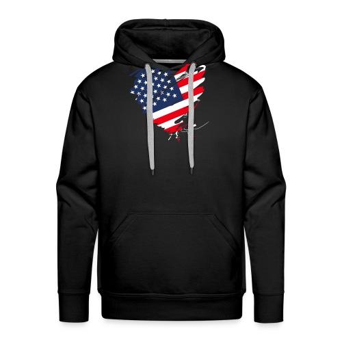 USA Amerika Sterne und Streifen Herz Grunge Flagge - Men's Premium Hoodie