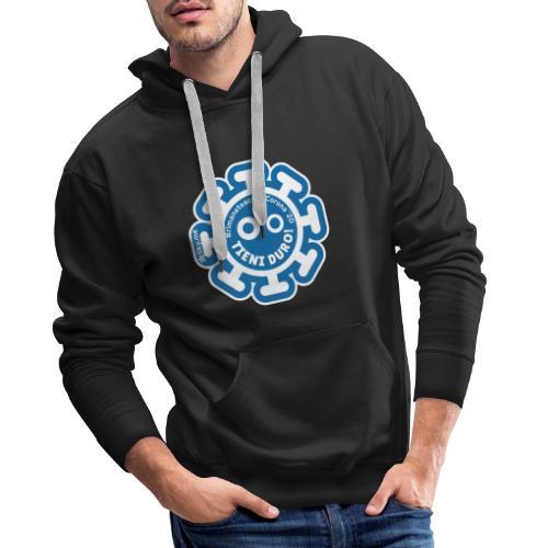 Corona Virus #rimaneteacasa azzurro - Felpa con cappuccio premium da uomo