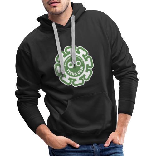 Corona Virus #restecheztoi vert - Sudadera con capucha premium para hombre