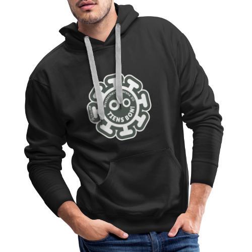 Corona Virus #restecheztoi gris - Sudadera con capucha premium para hombre