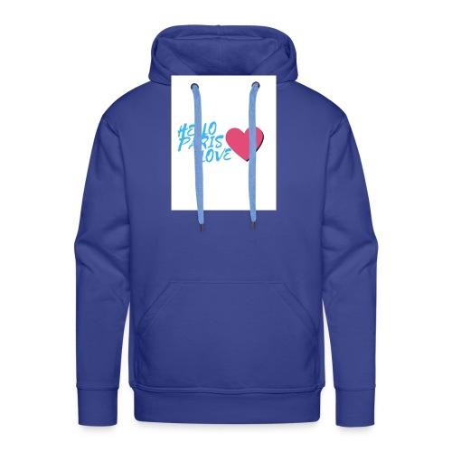 hello paris love bleu - Sweat-shirt à capuche Premium pour hommes