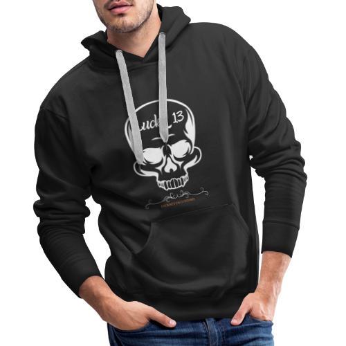 Lucky 13 , Skull Totenkopf 13 Bobber Biker Rocker - Männer Premium Hoodie
