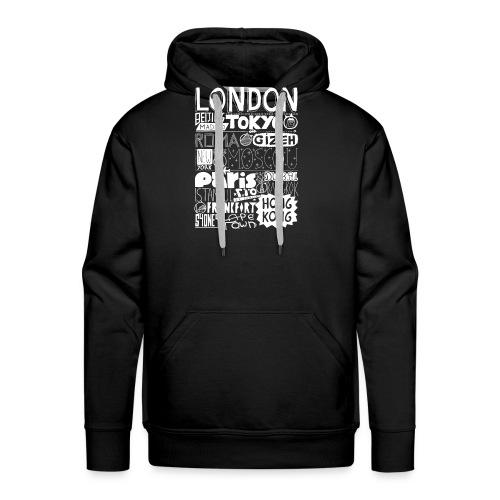 Villes du monde - blanc - Sweat-shirt à capuche Premium pour hommes