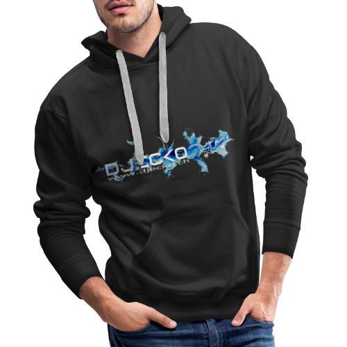 logo wave bleu fond noir - Sweat-shirt à capuche Premium pour hommes