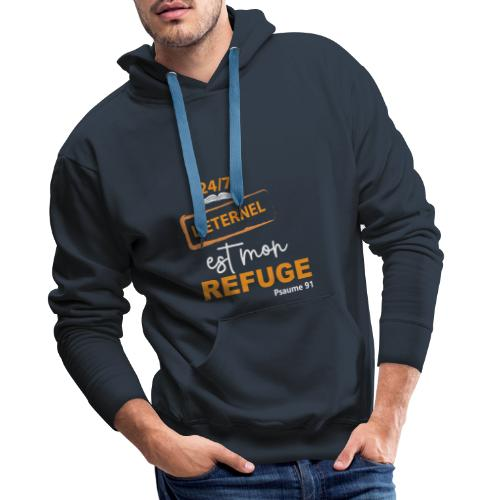 24 7 eternel mon refuge orange blanc - Sweat-shirt à capuche Premium pour hommes