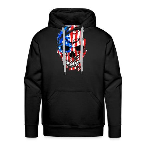 Teschio bandiera USA effetto strappo by Mescal - Felpa con cappuccio premium da uomo