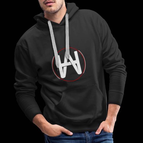 Hombre Alpha Logo en Blanco sobre Negro - Sudadera con capucha premium para hombre