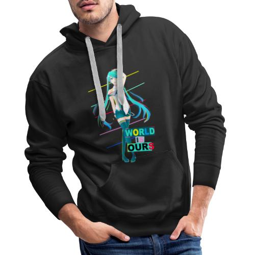 Miku World Is Ours - Sudadera con capucha premium para hombre