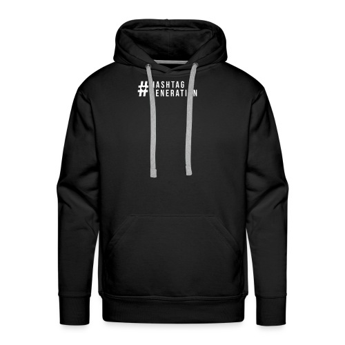 Hashtag generation logo final white - Men's Premium Hoodie