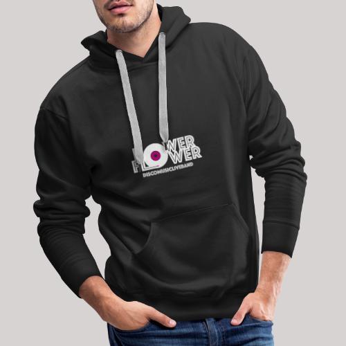 Logo PowerFlower bianco e fuxia - Felpa con cappuccio premium da uomo