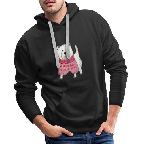 westie with sweater - Herre Premium hættetrøje