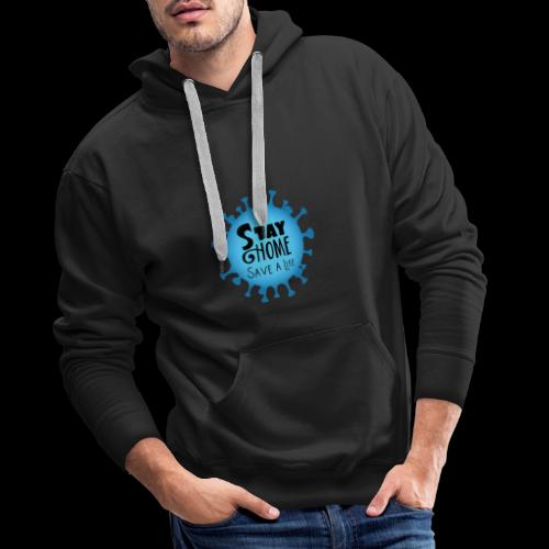 Stay Home (Blue) - Men's Premium Hoodie
