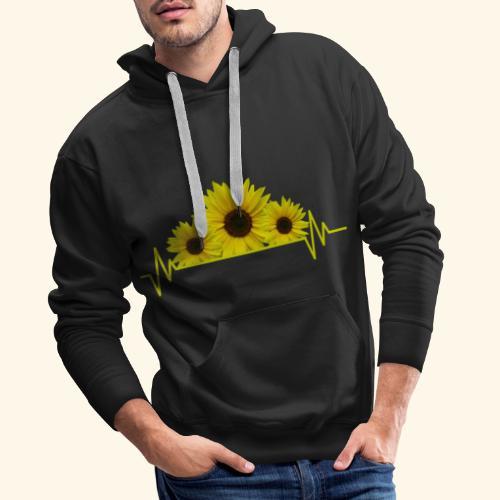 Sonnenblumen Herzschlag Sonnenblume Blumen Blüten - Männer Premium Hoodie