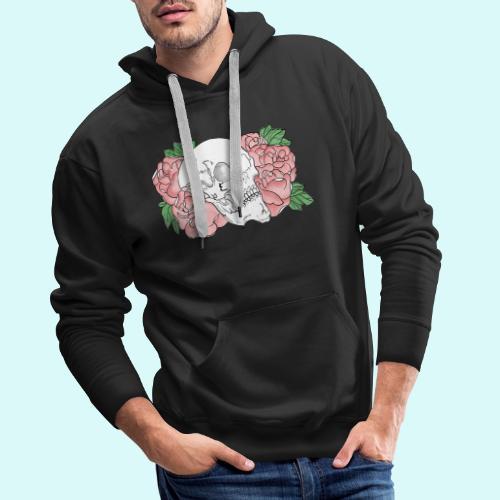 skull et fleurs - Sweat-shirt à capuche Premium pour hommes