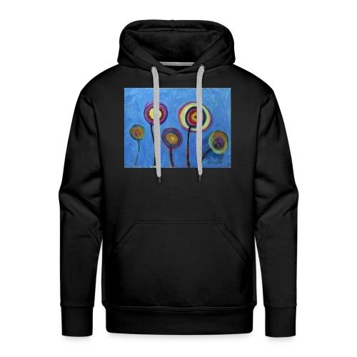 Blue flower - Felpa con cappuccio premium da uomo