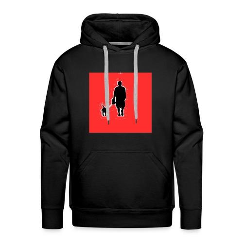Silhouette Man Walking Dog - Felpa con cappuccio premium da uomo