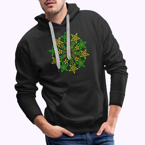 Fractal Star 3 color neón - Sudadera con capucha premium para hombre