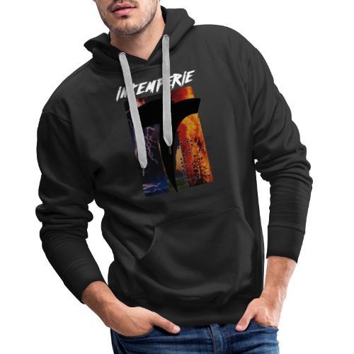 intemperie logo tres estragos fondo negro - Sudadera con capucha premium para hombre