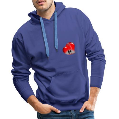 t shirt coeur rouge coup de foudre eclairs - Sweat-shirt à capuche Premium pour hommes