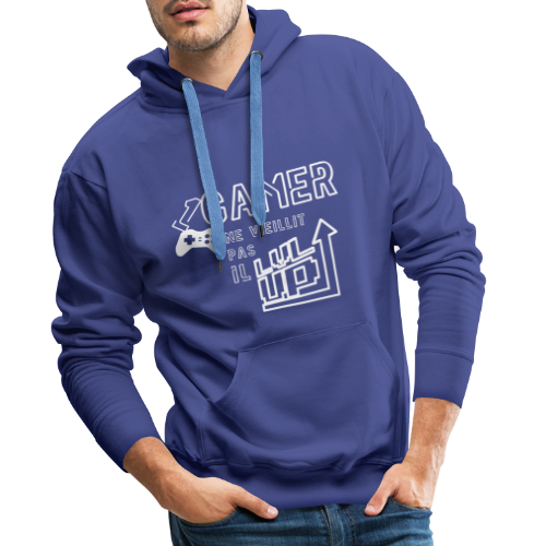 Gameur Manette Blanc - Sweat-shirt à capuche Premium pour hommes