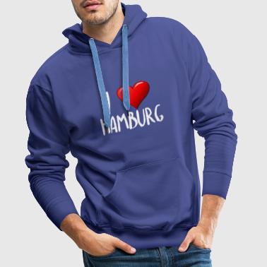 I Love Hamburg - Bluza męska Premium z kapturem