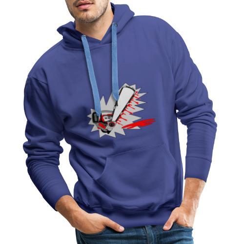 T shirt humeur tronçonneuse en sang votre texte FS - Sweat-shirt à capuche Premium pour hommes