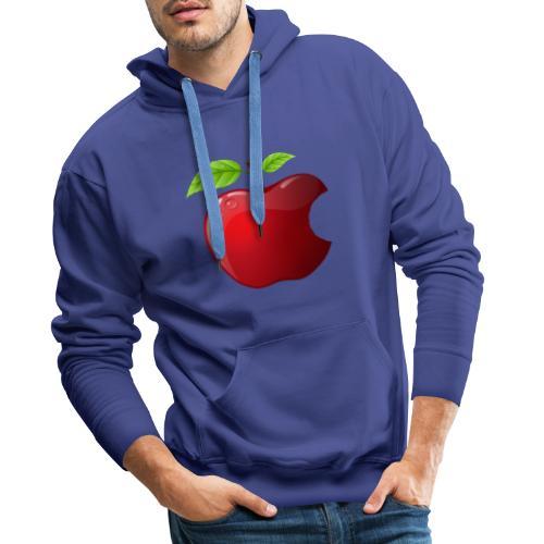 Symbol roter Apfel mit 2 Blätter glänzend - Männer Premium Hoodie