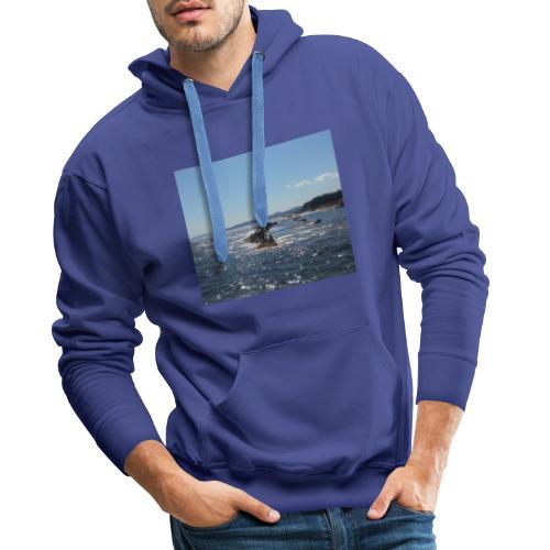 Mer avec roches - Sweat-shirt à capuche Premium pour hommes