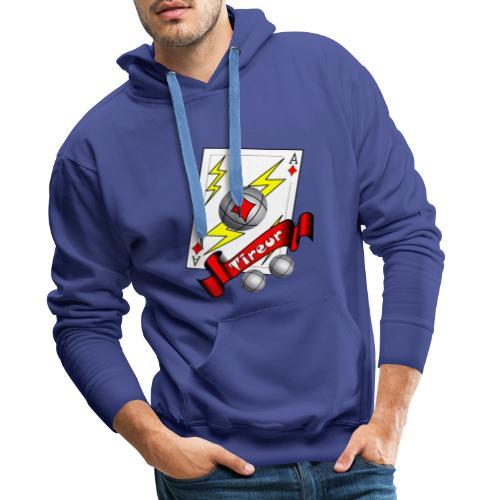 t shirt petanque tireur as du carreau boules - Sweat-shirt à capuche Premium pour hommes