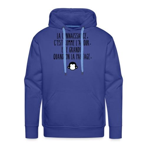 Grande citation et logo Savant Singe - Sweat-shirt à capuche Premium pour hommes