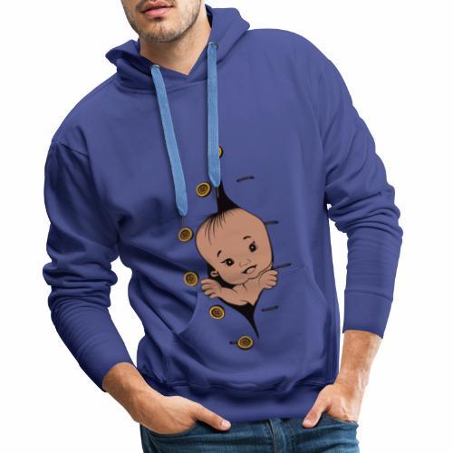 Design 1 baby without smile buttons left - Sweat-shirt à capuche Premium pour hommes