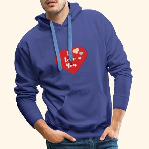 I Love You - Sweat-shirt à capuche Premium pour hommes