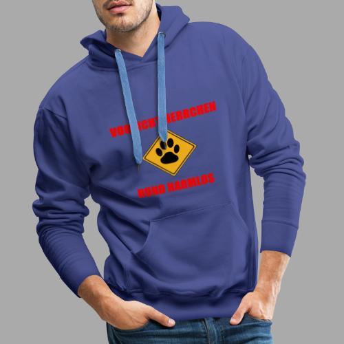 Vorsicht Herrchen - Hund harmlos - Männer Premium Hoodie