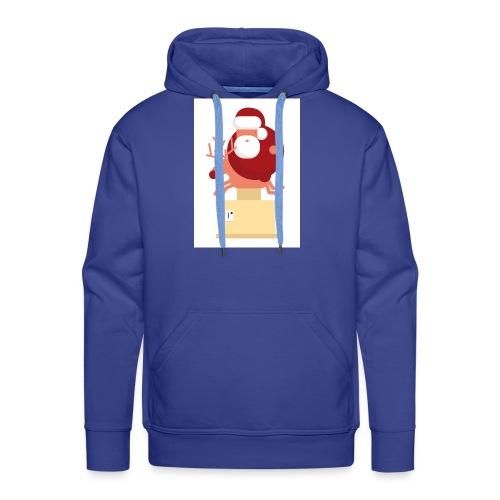 Kerstman op speelgoed rendier - Mannen Premium hoodie