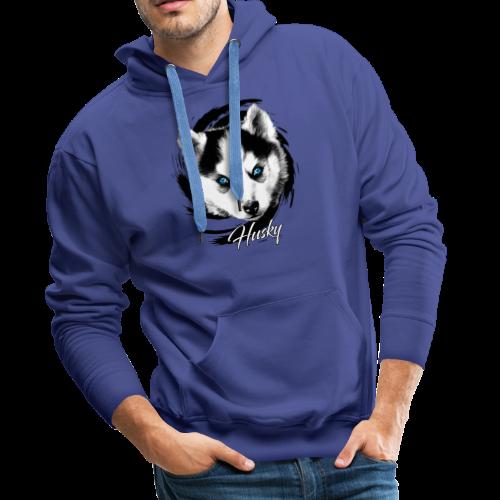 10-48 HUSKY BLUE EYES - DOG TEXTILES GIFTS WEBSHOP - Miesten premium-huppari