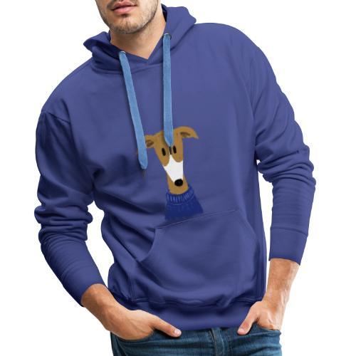 Windhund in blauem Pulli - Männer Premium Hoodie