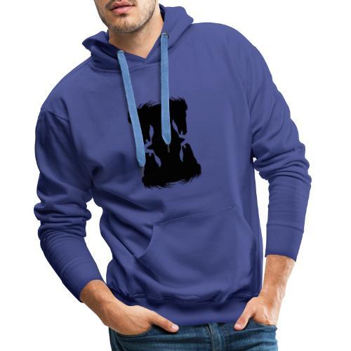 Cheval cabré en ombres chinoise - Sweat-shirt à capuche Premium pour hommes
